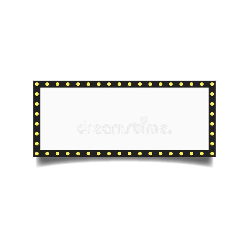 Retro billboardu wektor Olśniewająca światło znaka deska Realistyczna połysk lampy rama 3D Elektryczny Rozjarzony element Rocznik ilustracja wektor