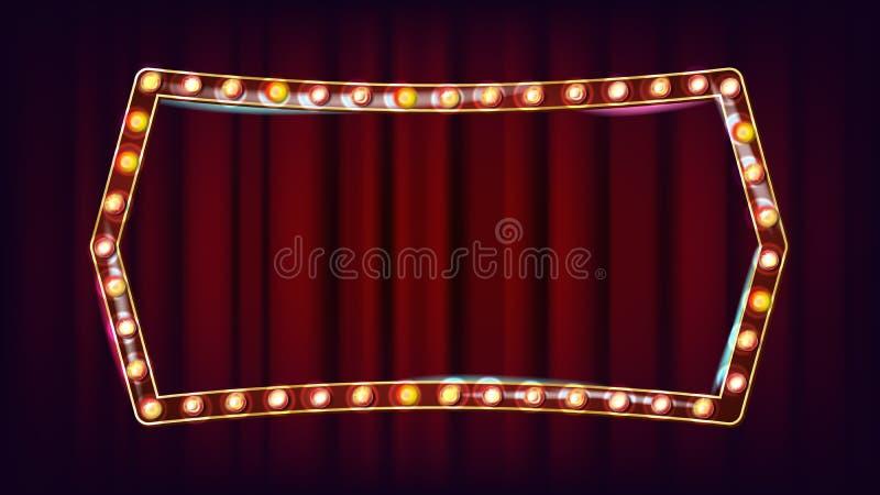 Retro billboardu wektor Realistyczna połysk lampy rama 3D Elektryczny Rozjarzony element Rocznika Złoty Iluminujący Neonowy świat royalty ilustracja