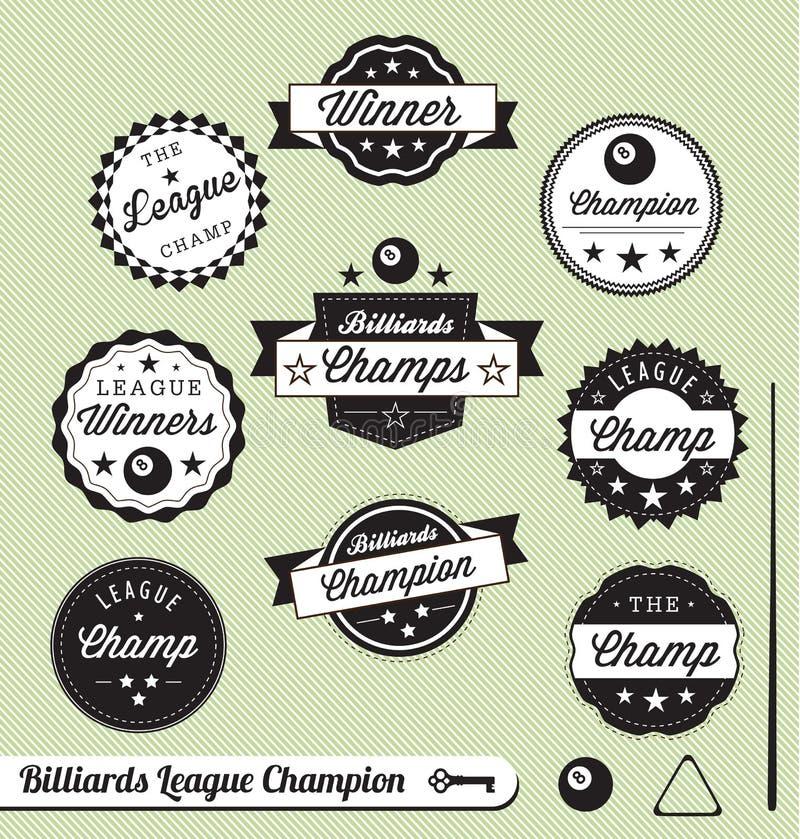 Retro Billiards Ligowe Etykietki i Majchery ilustracji