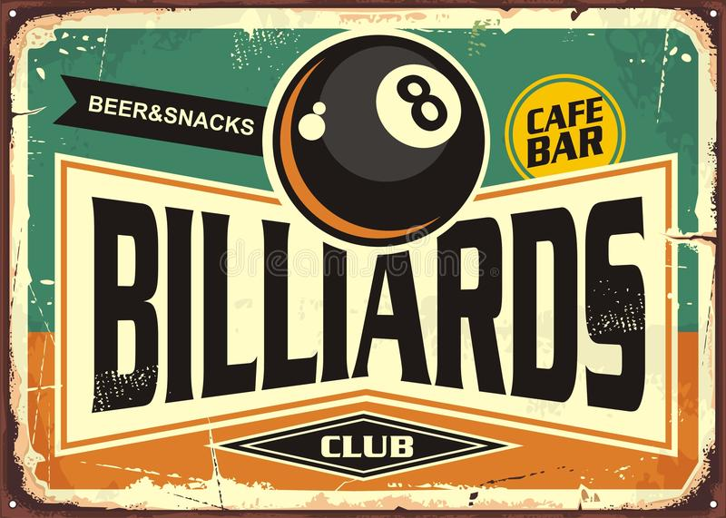 Retro billiards sign design. With black eight ball on green background. Billiard club poster design. Snooker promotional ad stock illustration