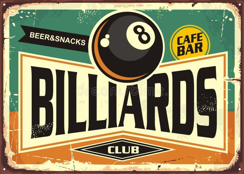 Retro billiards znaka projekt ilustracji