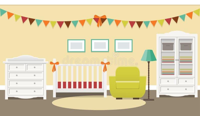 Retro binnenland van de babyruimte Vector illustratie vector illustratie