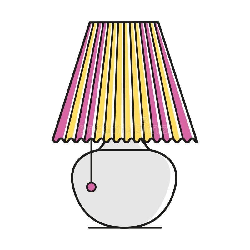 Retro binnenlandse schemerlamp met golf gestreept lampekap en kant Comfortabel huissymbool stock illustratie