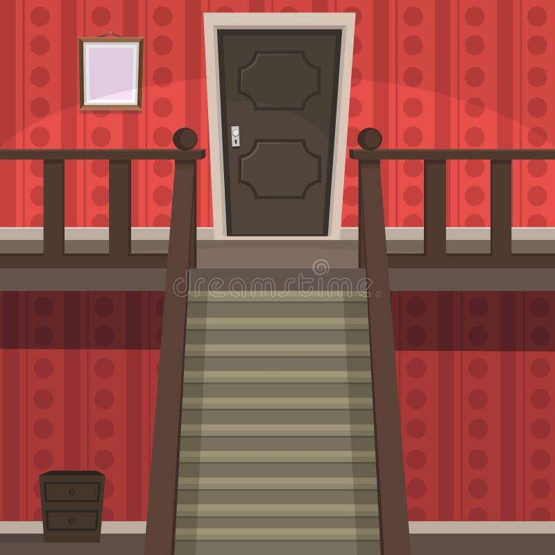 Retro Binnenrood stock illustratie
