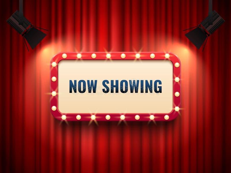 Retro bio- eller teaterram som är upplyst vid strålkastaren Uppvisning nu av tecknet på den röda gardinbakgrunden Filmpremiärteck royaltyfri illustrationer