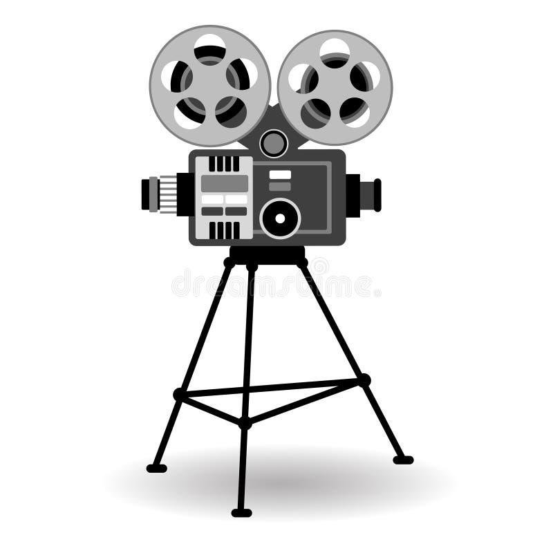Retro bio för film för filmprojektor royaltyfri illustrationer