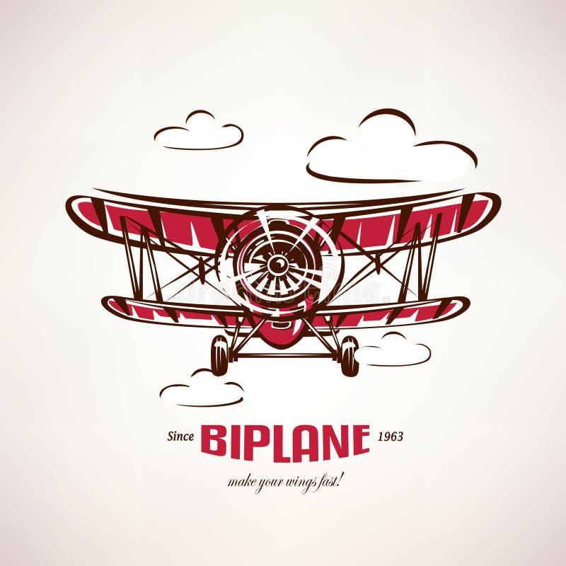 Retro biplan, symbol för tappningflygplanvektor vektor illustrationer