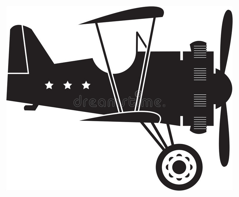 Retro biplane. Hand draw illustration vector illustration