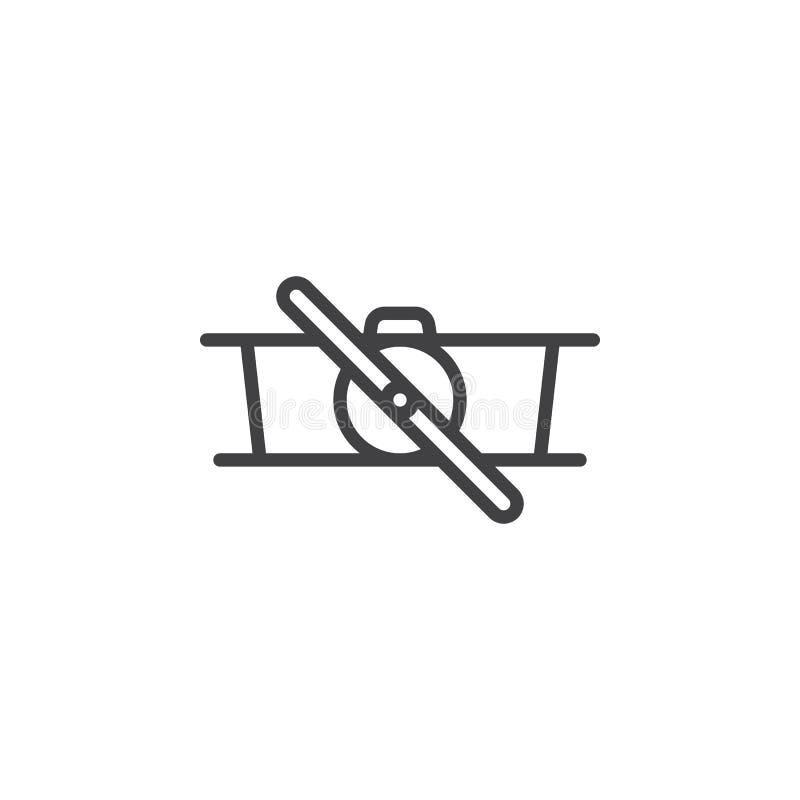 Retro biplane line icon vector illustration