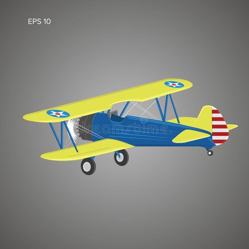Retro biplane plane vector illusration. Vintage piston engine airplane. Retro biplane plane vector illusration. Small vintage piston engine airplane. Training stock illustration
