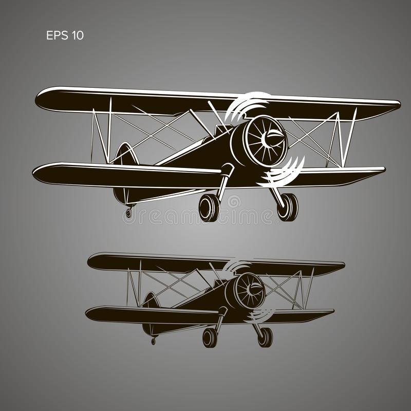 Retro biplane plane vector illustration. Vintage piston engine airplane. Retro biplane plane vector illusration. Small vintage piston engine airplane. Training stock illustration