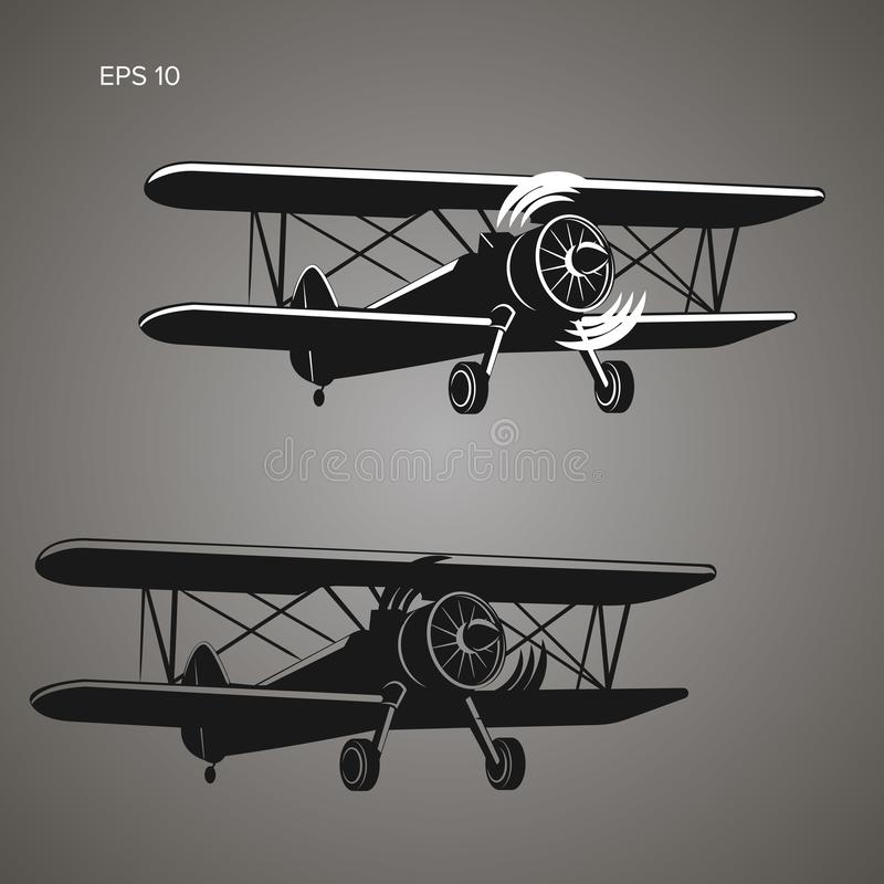 Retro biplane plane vector illustration. Vintage piston engine airplane picture. Training aircraft royalty free illustration