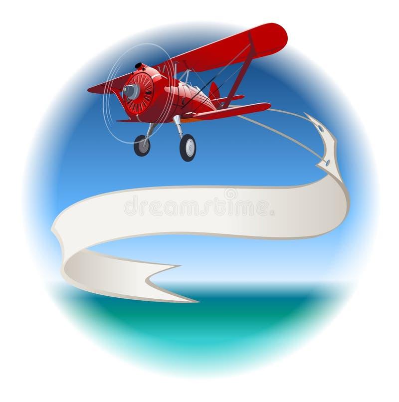 Retro biplano con l'insegna illustrazione vettoriale
