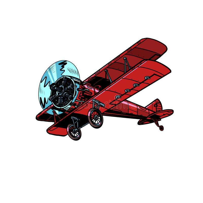 Retro biplanu samolot royalty ilustracja