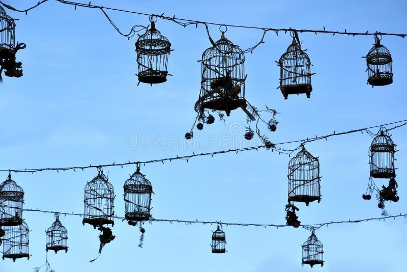 Retro birdcages, decoratie royalty-vrije stock afbeelding