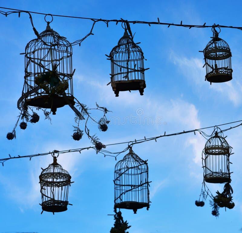 Retro birdcages, decoratie stock fotografie