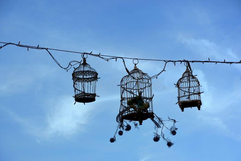 Retro birdcages, decoratie royalty-vrije stock afbeeldingen