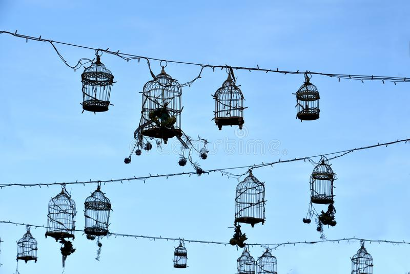 Retro birdcages, decorazione fotografie stock
