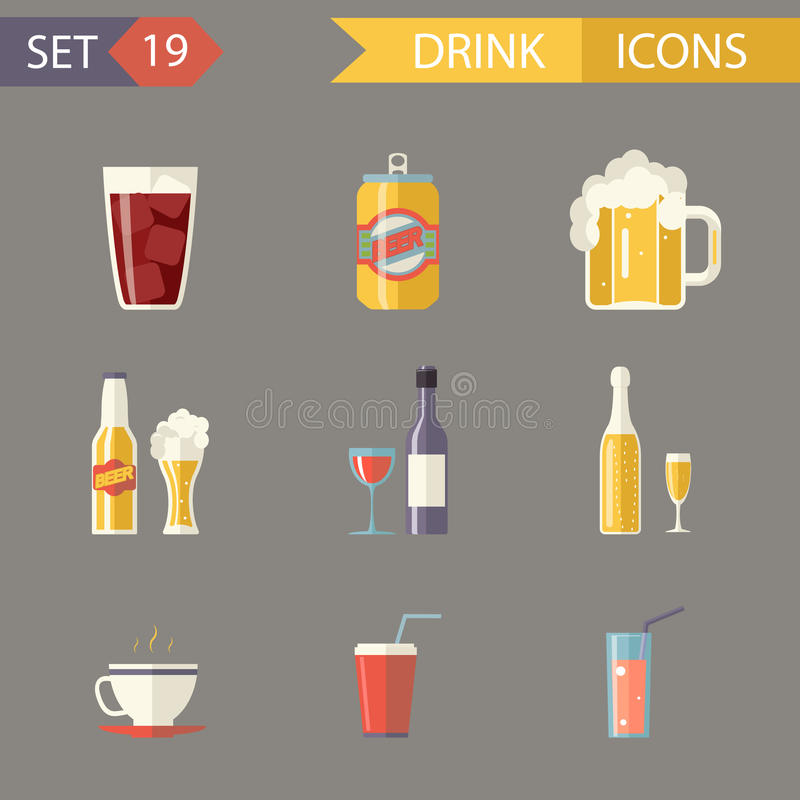 Retro birra piana Juice Tea Wine Drink Icons dell'alcool illustrazione vettoriale