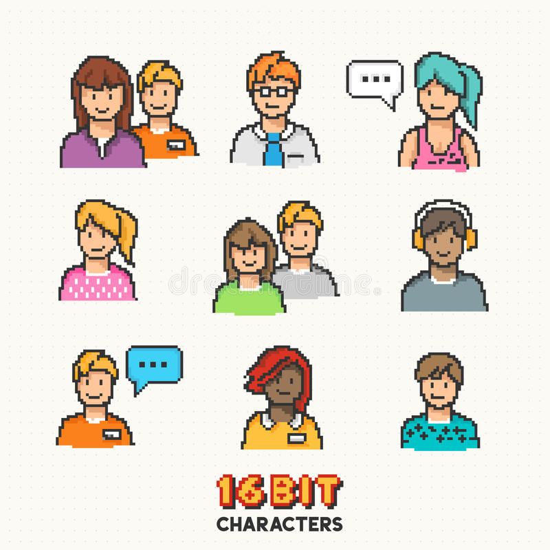 Retro 16-bit People Characters vector illustration