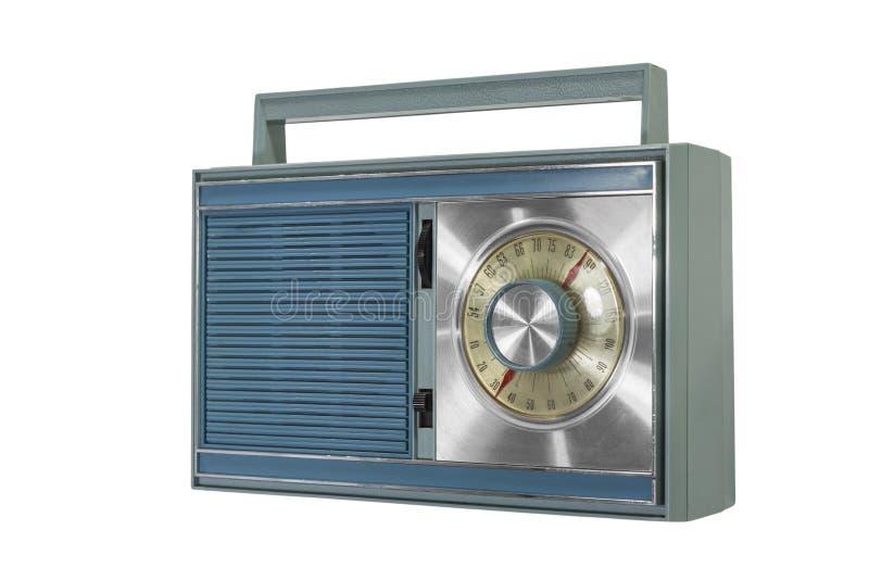Retro blå bärbar radio royaltyfri fotografi