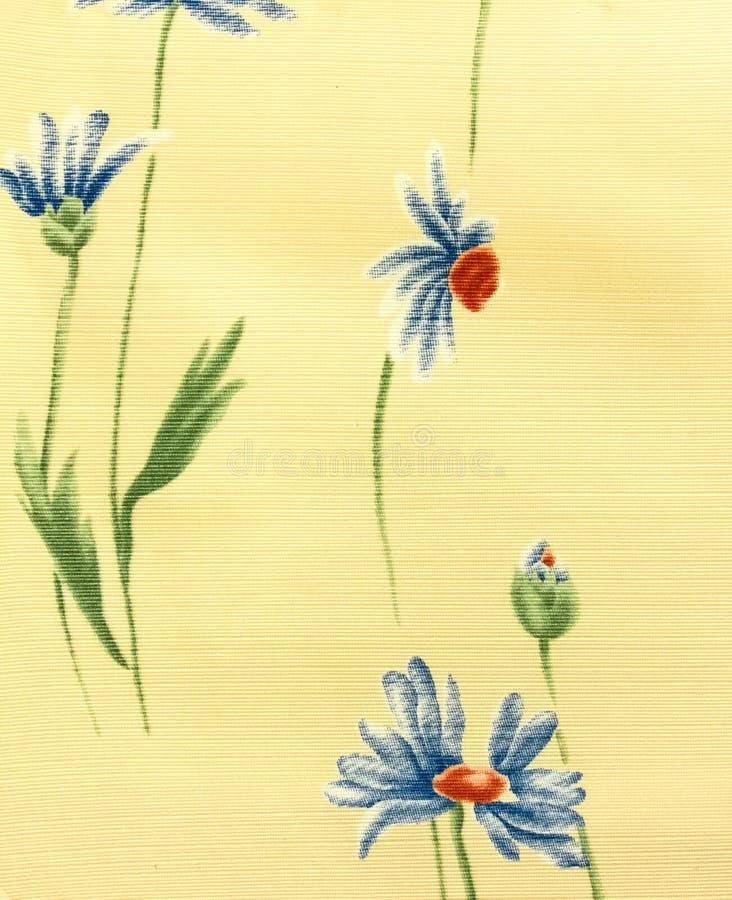 Retro blå blom- modelltygbakgrund arkivbild
