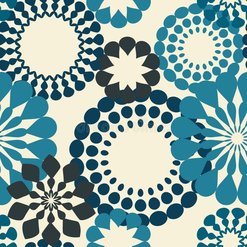 retro blåa blommor vektor illustrationer
