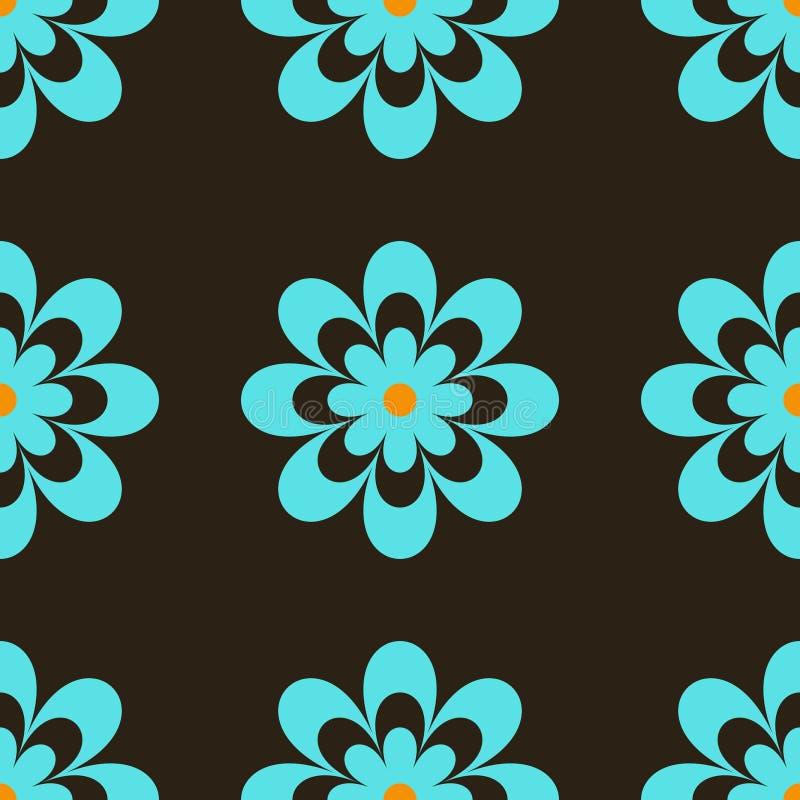 retro blåa blommor royaltyfri illustrationer
