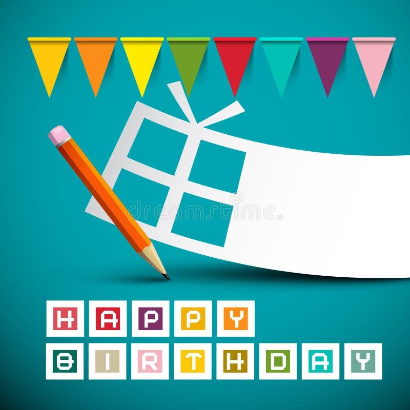 Retro blått kort för lycklig födelsedag vektor illustrationer