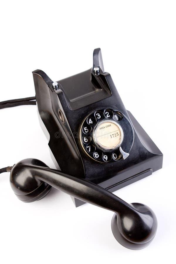 Retro Black Bakelite Telephone stock photo