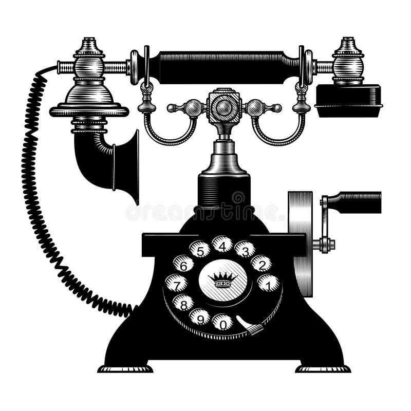 Retro black phone. Vintage engraving stylized drawing. There is in addition a vector format EPS 8 royalty free illustration