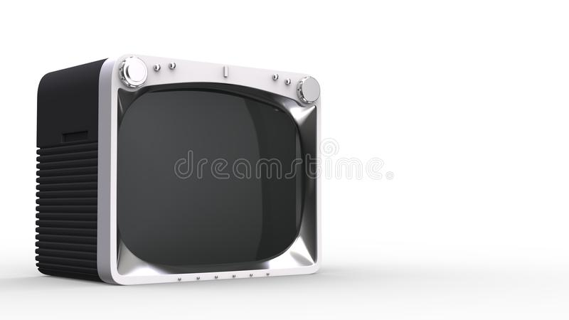 Retro black TV set with white front. On white background stock illustration