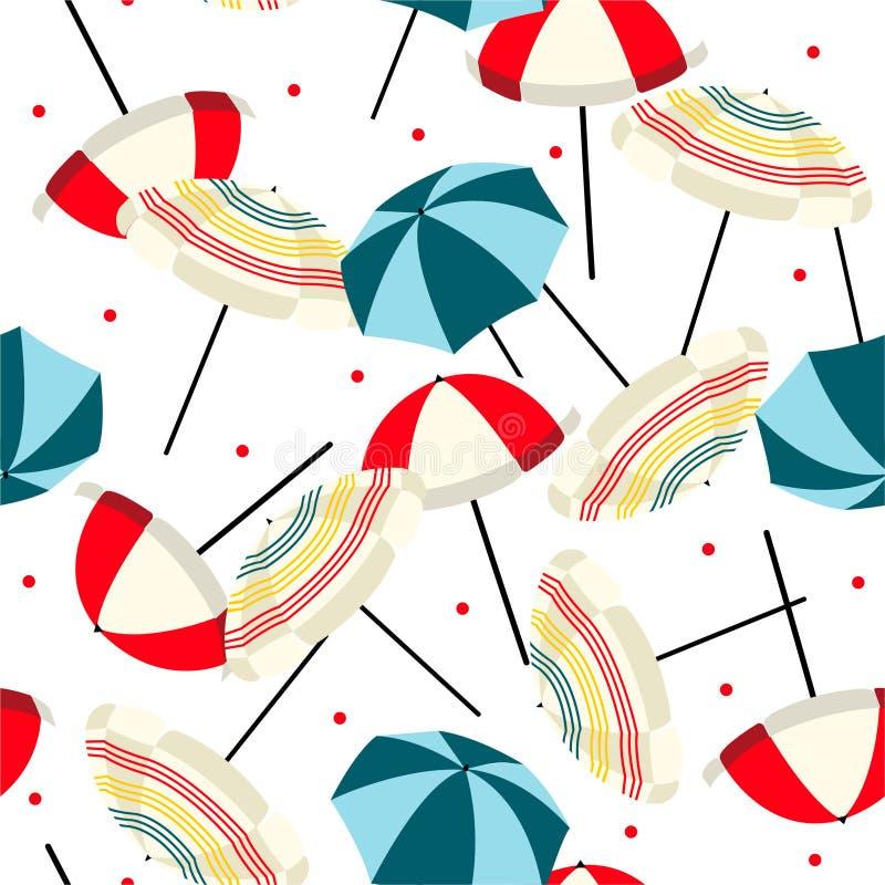 Retro blandning för strandparaply med den sömlösa modellen för röda prickar i vektor Design för mode, tyg, rengöringsduk, tapet,  vektor illustrationer