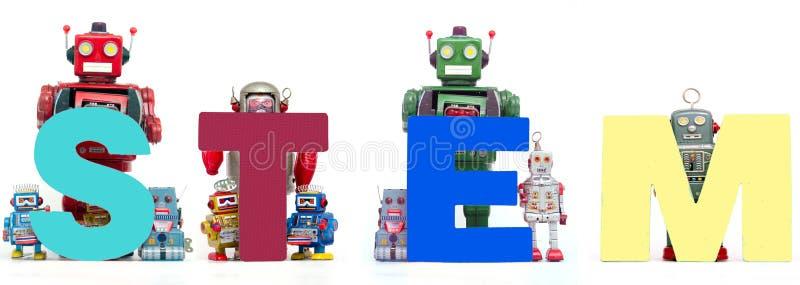 Retro blaszane robot zabawki podtrzymywali akronimu trzon solated zdjęcie stock