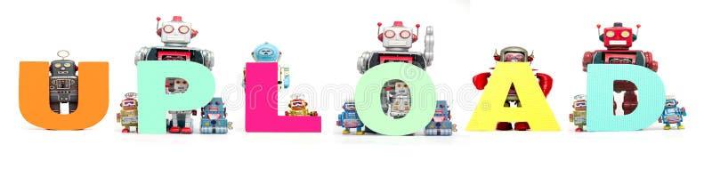 Retro blaszane robot zabawki podtrzymywali słowo odizolowywający o UPLOAD zdjęcie stock