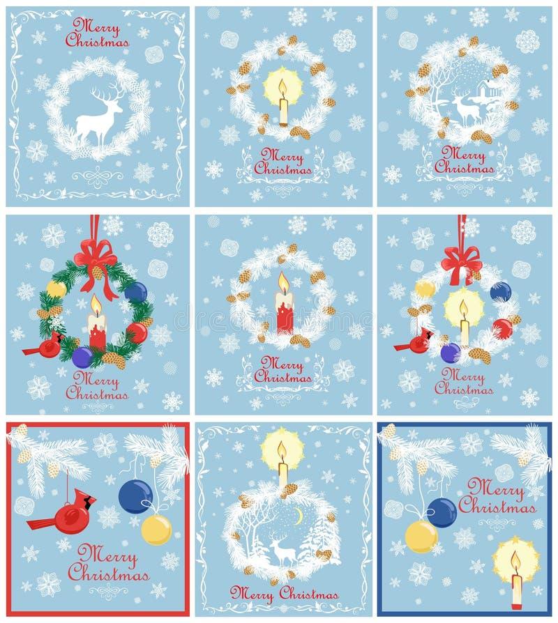 Retro- blaue Weihnachtskartenpastellsammlung für Winterurlaube mit Papier herausgeschnittenem Weihnachtskranz mit Nadelbaum verzw lizenzfreie abbildung