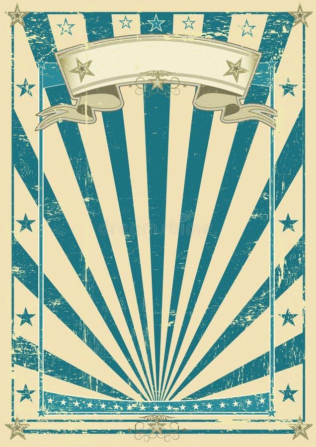Retro blauwe affiche royalty-vrije illustratie