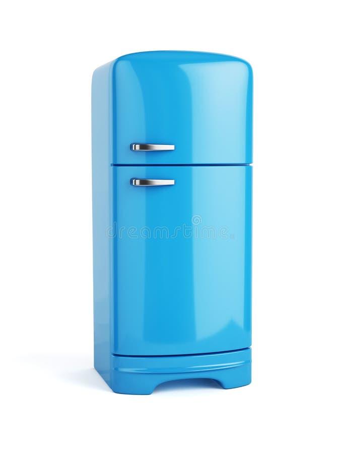 Retro blauwe geïsoleerde koelkastijskast royalty-vrije illustratie