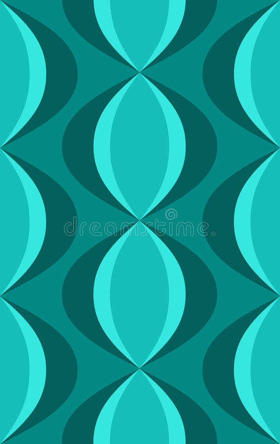 Retro Blauwe Ovale Patroon van jaren '50 royalty-vrije illustratie