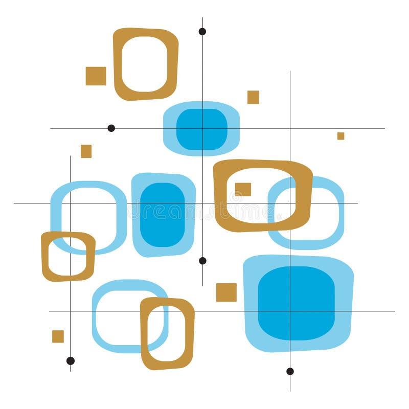 Retro Blauwe Vierkanten (Vector) royalty-vrije illustratie