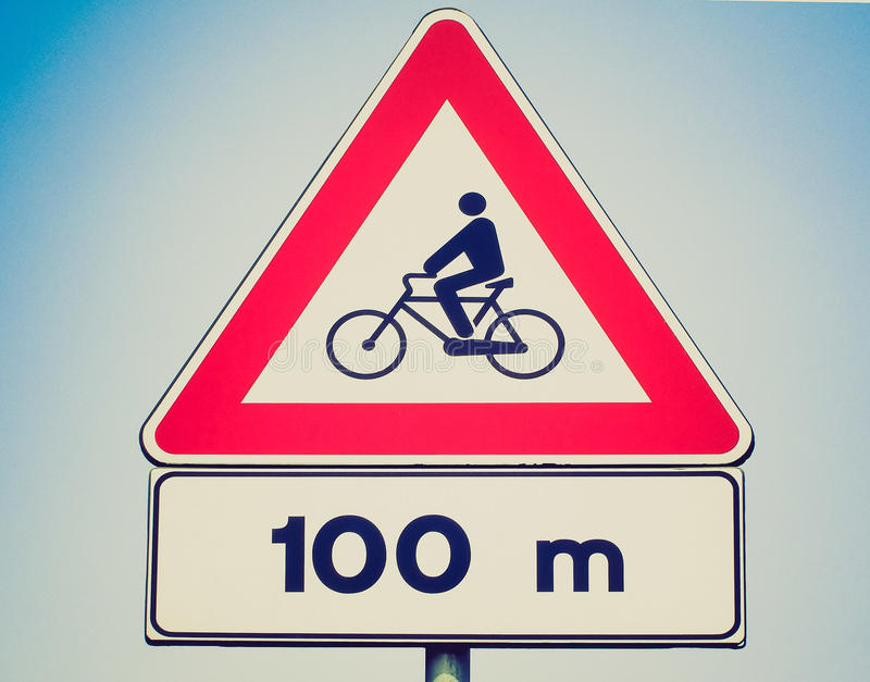 Retro- Blick Fahrradzeichen lizenzfreie stockfotografie