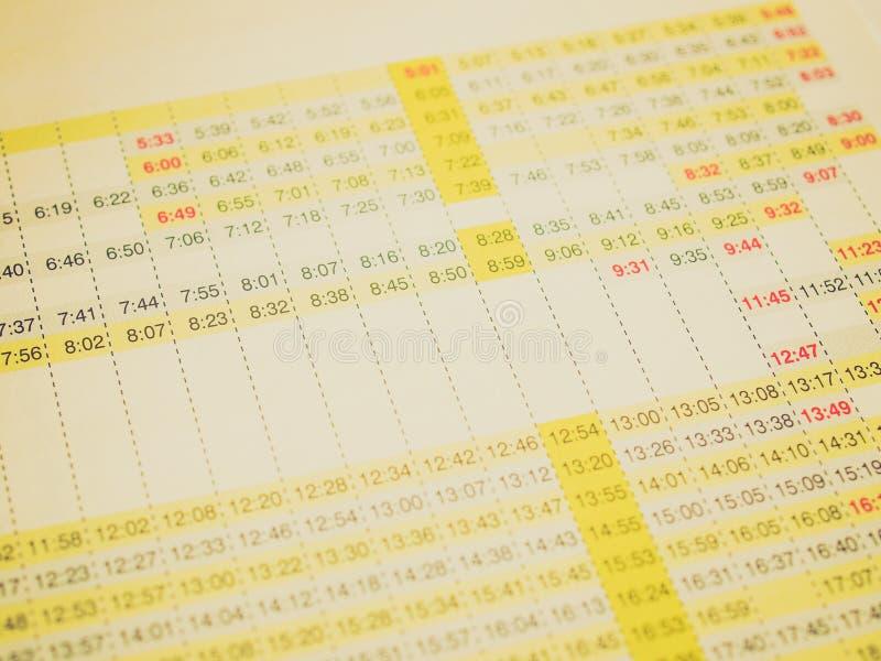 Retro- Blick Zeitplan lizenzfreies stockfoto