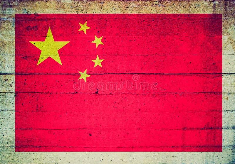 Retro blickflagga av Kina royaltyfri foto