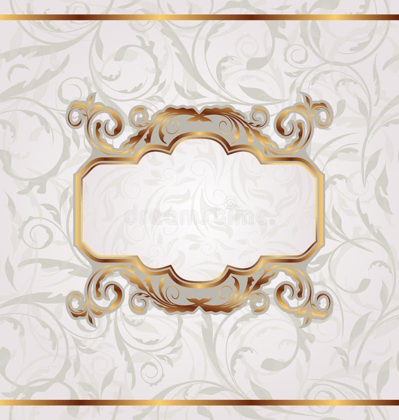 Retro blocco per grafici dorato, struttura floreale senza giunte royalty illustrazione gratis