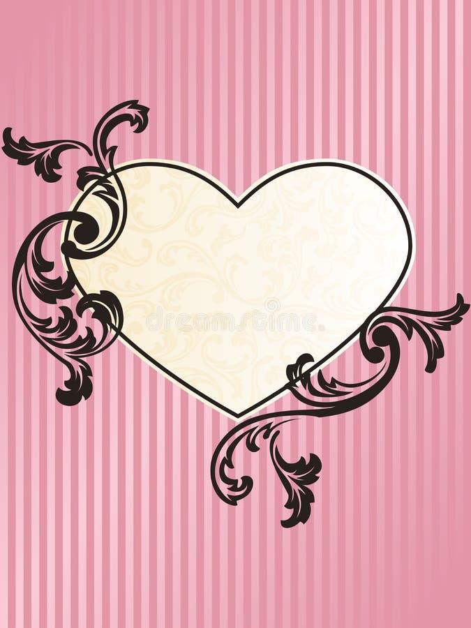 Retro blocco per grafici francese heart-shaped romantico nel colore rosa illustrazione di stock