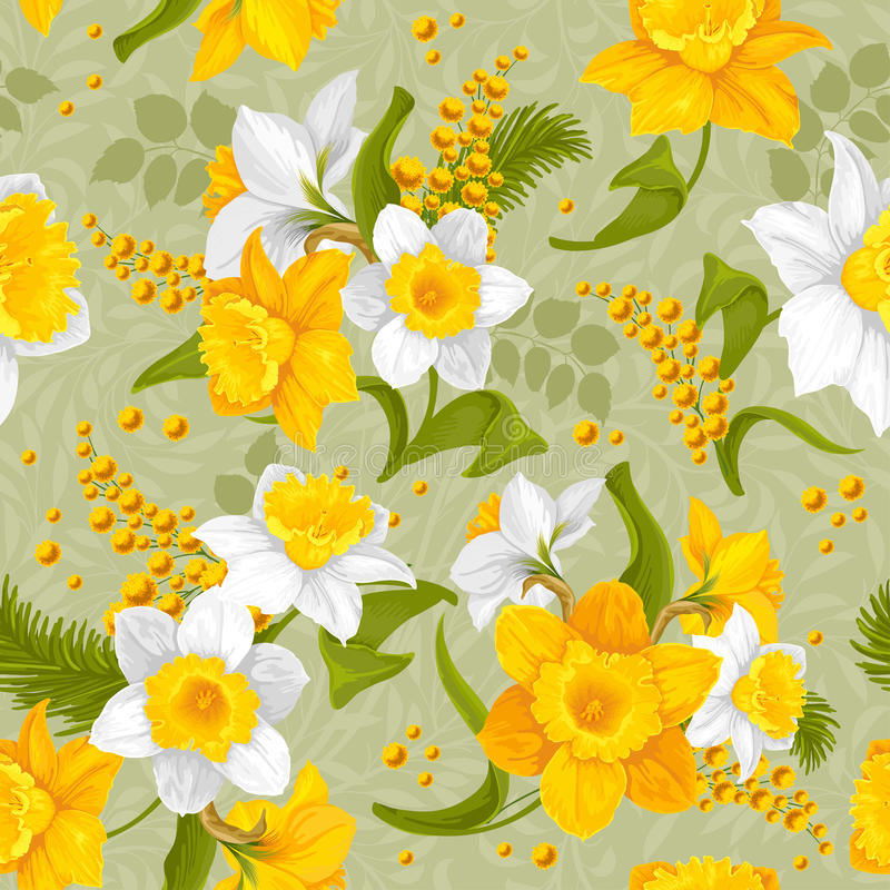 Retro bloem naadloos patroon - gele narcissen stock illustratie