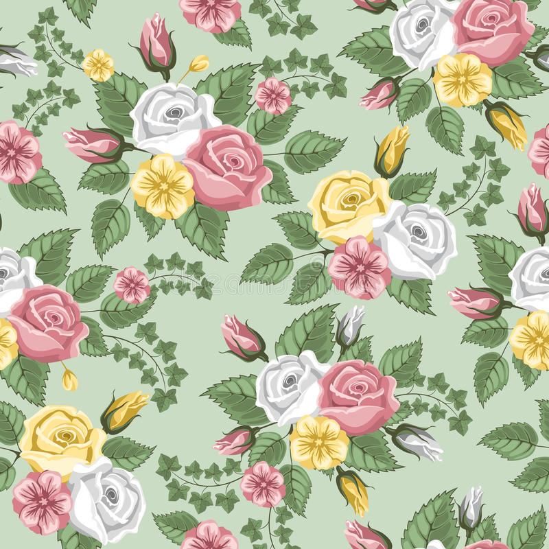 Retro bloem naadloos patroon - rozen royalty-vrije illustratie