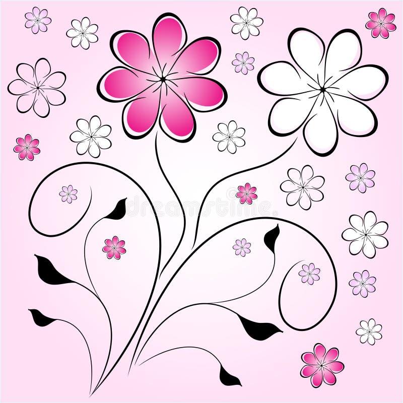 Retro bloemachtergrond stock illustratie