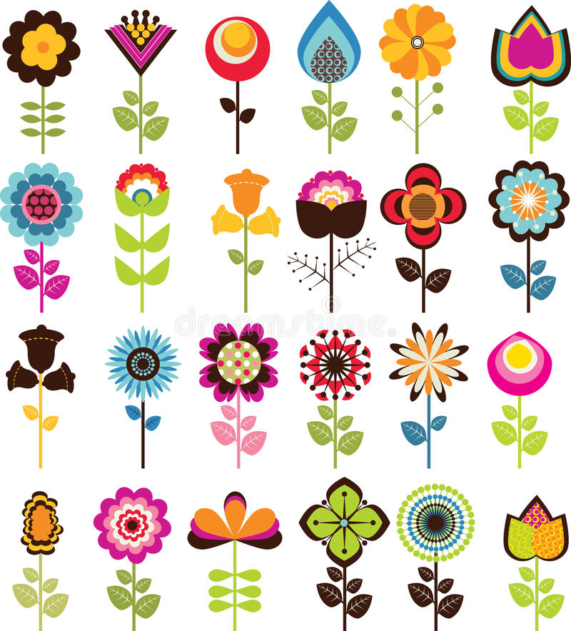 Retro Bloemen stock illustratie