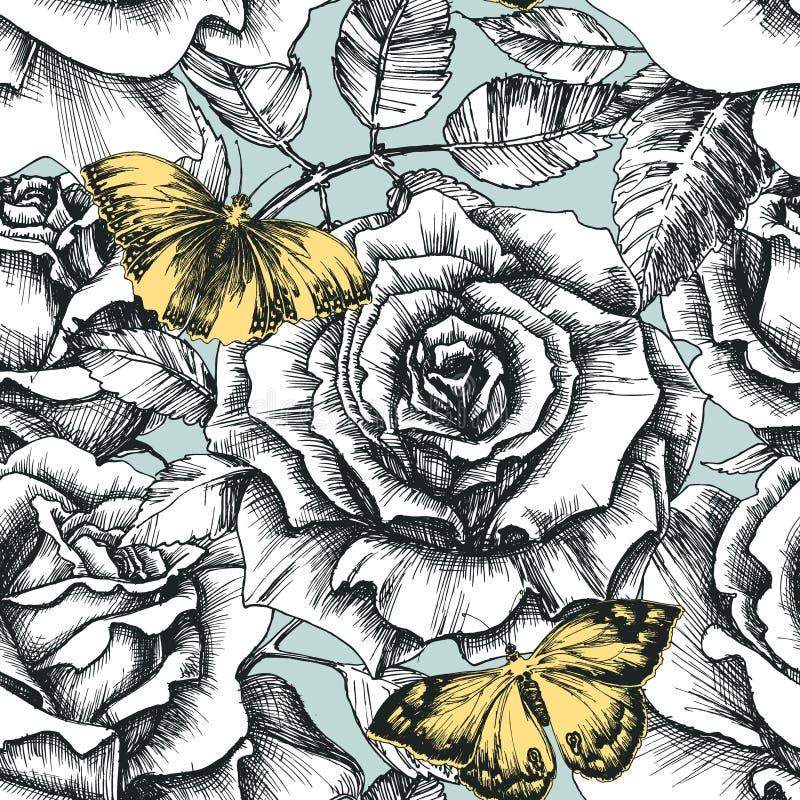 Retro bloemen en vlinderpatroon vector illustratie